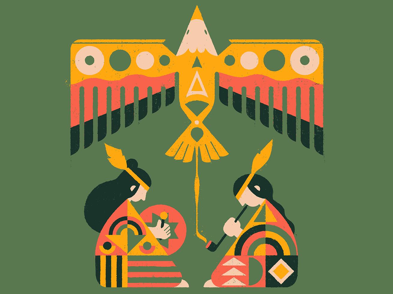 Wakan Tanka sacred geometry ceremony drum pipe tobacco eagle native american lakota texture distressed illustration mexico guadalajara
