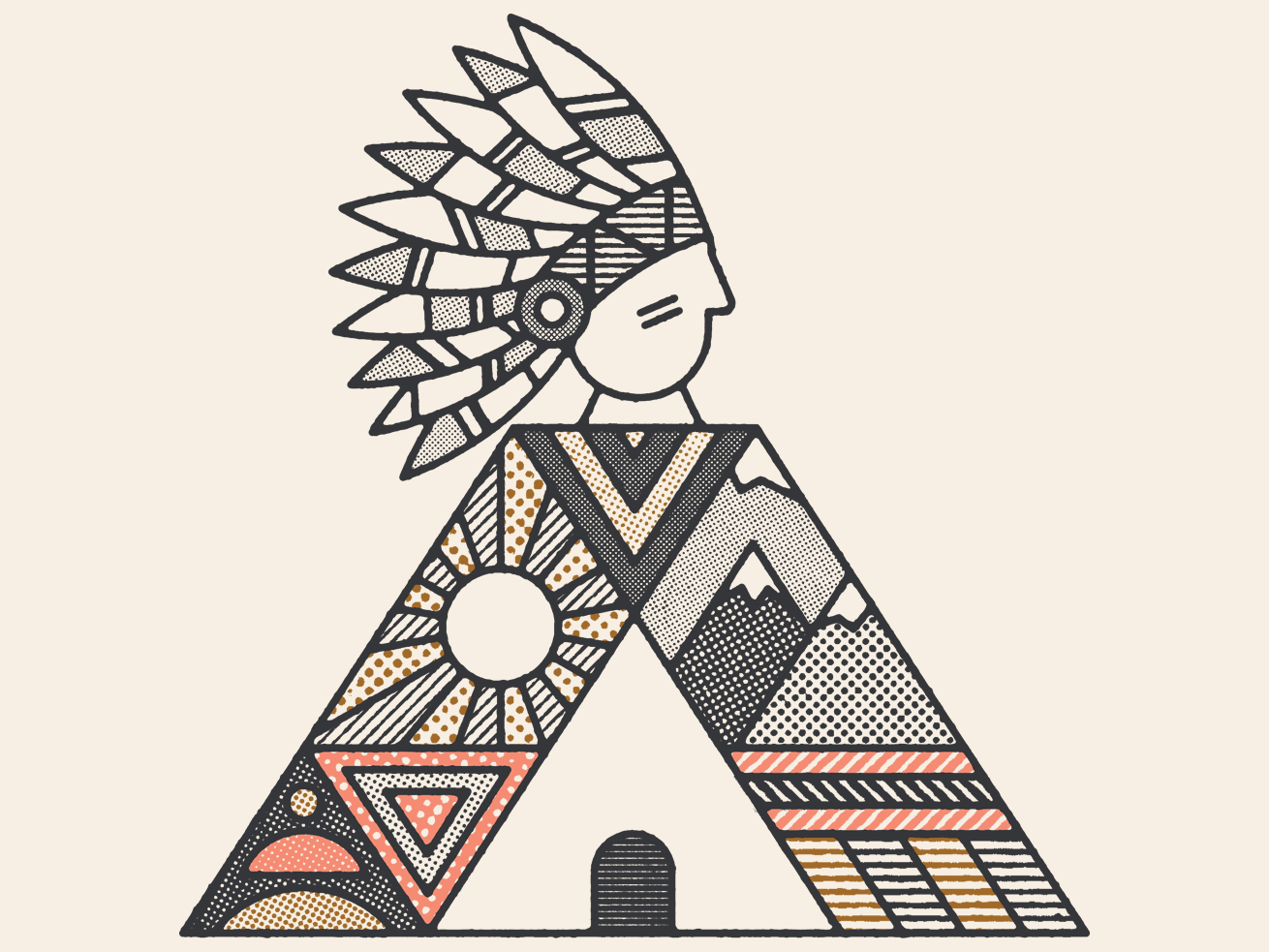 ⛰️ nature mexico mountains feathers lakota native native american geometric pattern lines distressed dots textures illustration guadalajara