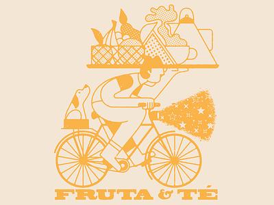Fruit & Tea line art bicycle mexico guadalajara yellow ride night stars fruits hat bike dog tea fruit