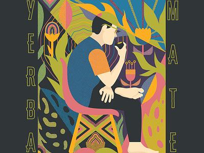 Yerba Mate halftone textures tea yerba mate typography vector design illustration mexico guadalajara