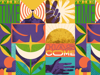 The Time Has Come leaf nature type illustration design geometry hands dove guadalajara mexico overlay textures peace revolution fight reggae