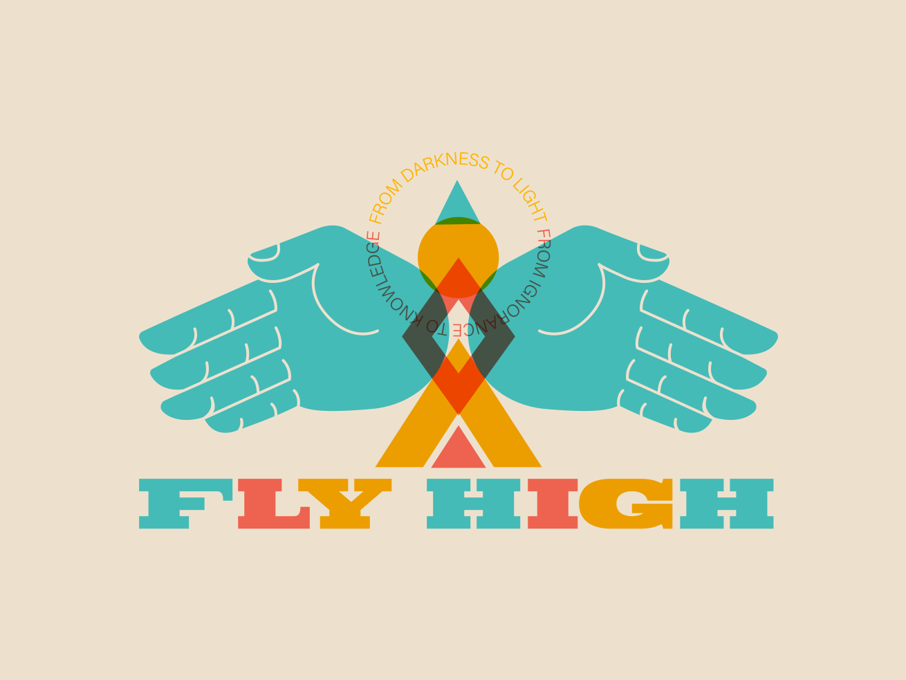 ✋🏽FlyHigh🤚🏽 abstract bird fly multiply overlay geometry branding hands typography vector hand design flat illustration mexico guadalajara