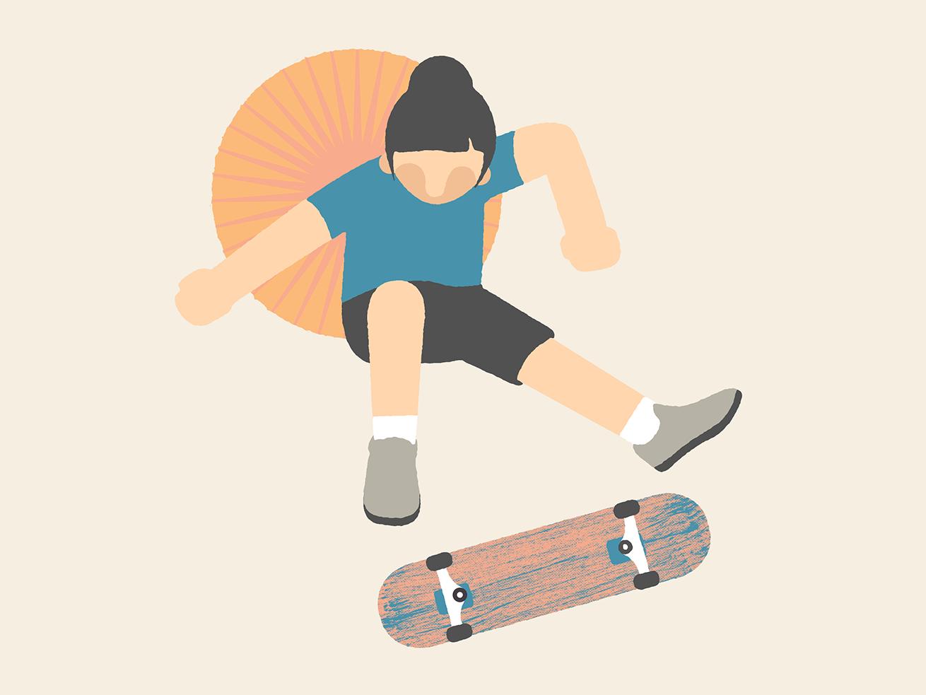 Kickflip textures simple skateboard skate star sun flat design girl illustration mexico guadalajara