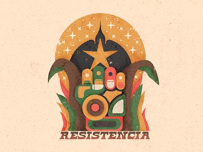 Resistance distressed geometry plants stars fight fist bird moon textures illustration mexico guadalajara resistance revolution reggae dub