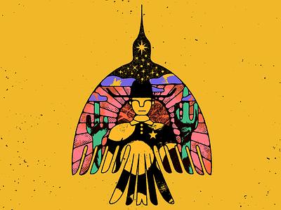 🌅 sheriff colorful clouds desert distressed cowboy bird stars sun textures illustration mexico guadalajara