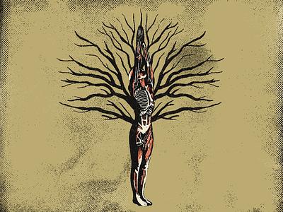 Urdhva Hastasana 🌳 tree of yoga branches halftone textures distressed illustration mexico guadalajara asana tree yoga ashtanga