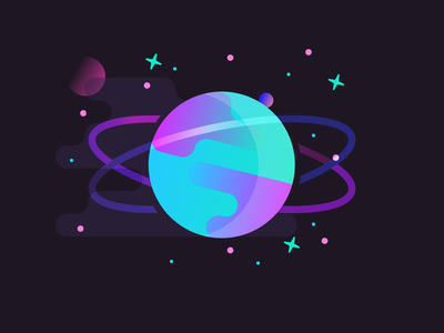 Space and Planets clouds moon starburst stars rings orbit planets planet space