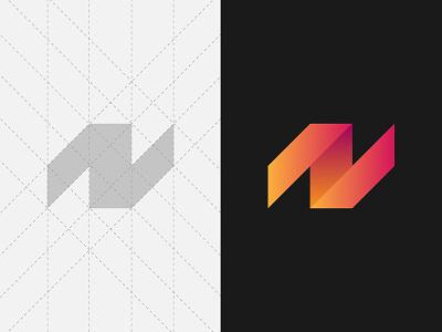 N Monogram basic gradient system grid branding logo letter monogram n