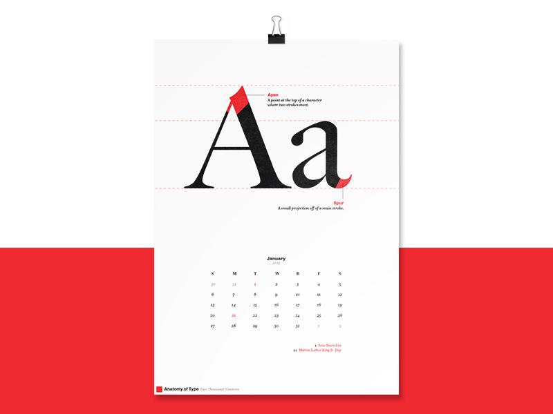 Anatomy Of Type 2019 Calendar By Nick Depasquale Dribbble Dribbble