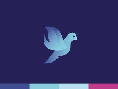 Dove Flame Mark mark logo brand church ministries blue flame fire dove