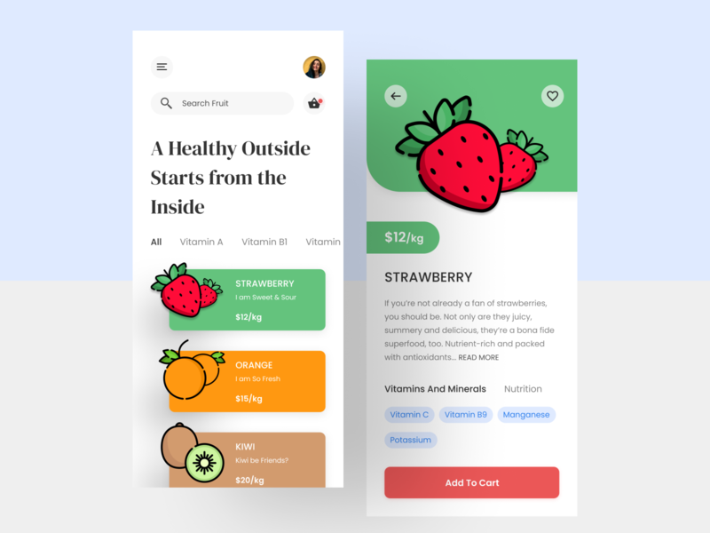 Fruit Store Mobile App mobile app mobile new product fruit app colors interface design typography trending ui clean minimal mobile ui application app design food ecommerce nutrition fruit shop app