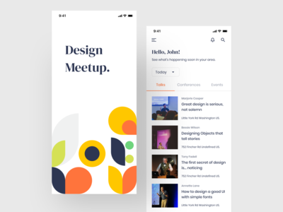Design Meetup - Concept Mobile app Design meetup home screen splashscreen illustraion abstract mobile application mobile event app events conference talks design meetup pattern trending clean design ui mobile app design mobile ui app