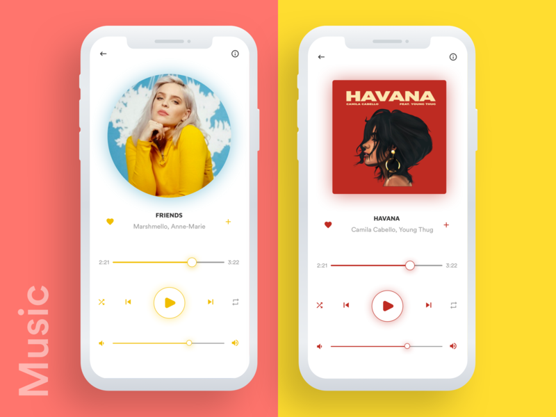 Music App Screens mobile app design mobile app mobile ui surat color yellow orange apps ios clean app ui. ux trending ui music art trending music app ui iphone x clean ui music app simpel