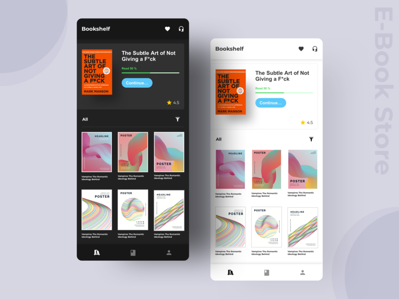 E - Book Store Concept App mobile app mobile ui concept store bookshelf design trending clean dark app ecommerce night and day day mode dark mode dark ui book reading ux ui book store e-books e-book