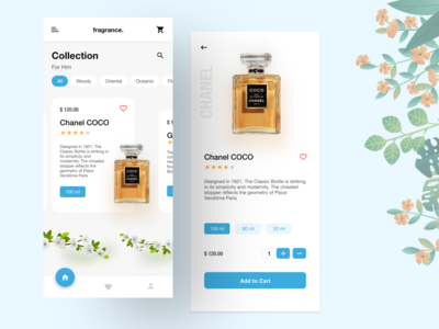 Fragrance Store - Perfume Mobile App concept mobile app sketch shope store ecommerce flower cards minimal fresh ui cart collection fragrance perfume trending clean ui mobile app design mobile ui app