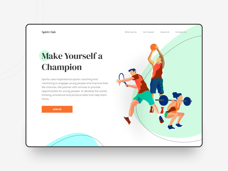 Sport Club Website Design inspiration champion spirit 2020 player interface graphics club minimalist website landing page sport club sports design fitness club illustration trending ui design minimal clean ui
