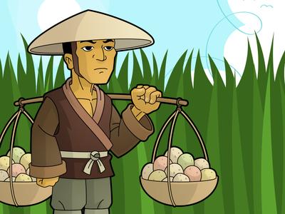 Farmer cartoon character design illustration