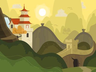 Menu Landscape scenery cartoon landscape illustration