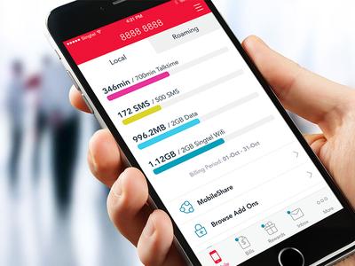 My Singtel App Redesign simple clean ios app dashboard