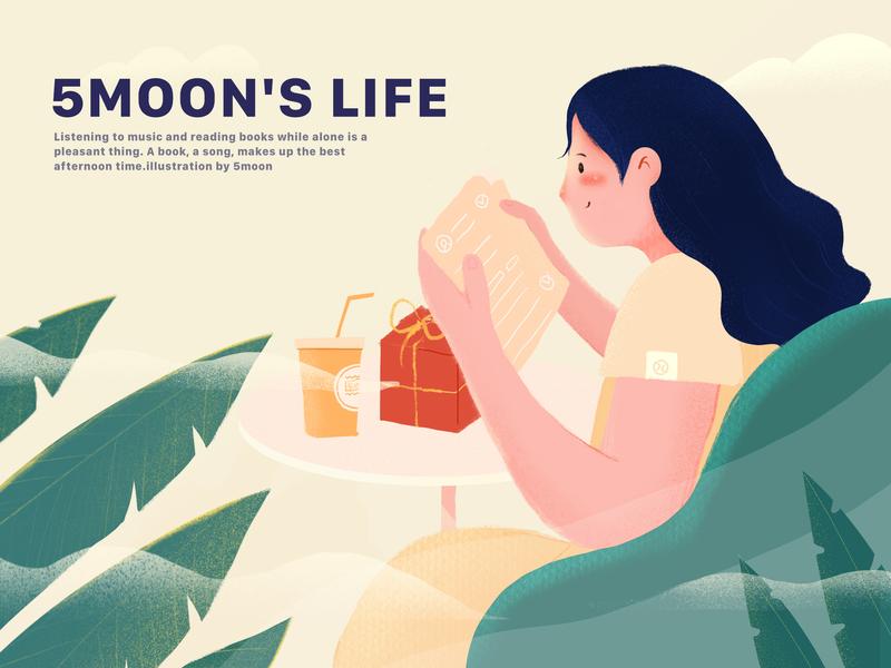 5MOON`S  LIFE logo girl branding winter ui travel nature love web light landscape illustration design art