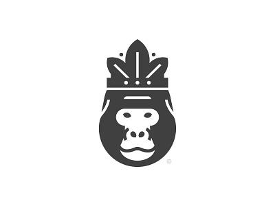 The king of gorillas print animal crown leaf gorilla mark icon design brand logo