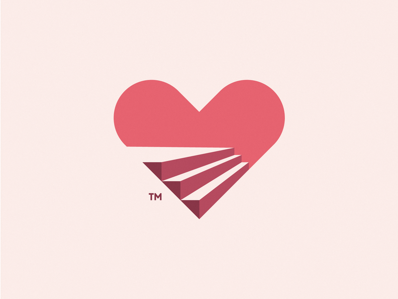 Heart & Stairs health red stairs heart print icon design brand logo branding