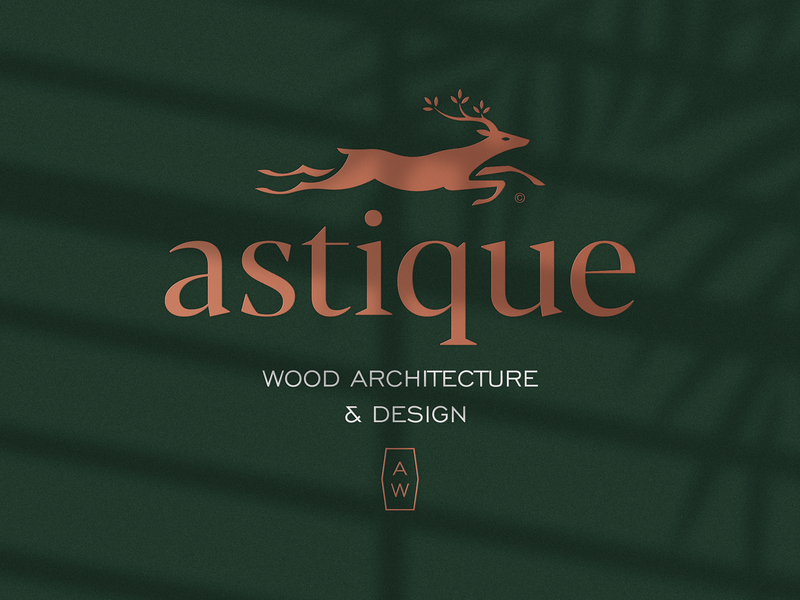 Astique Wood Architecture & Design wood architect architecture luxury deer logo deer leaf animal print mark icon design brand logo branding