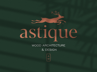 Astique Wood Architecture & Design a b c d e f g h i j k l m n 1 2 3 4 5 6 7 8 9 0 wood architect architecture luxury deer logo deer leaf animal print mark icon design brand logo branding