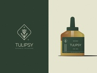 Tulipsy© maintenance beauty cosmetic tulip star bottle green serum deep skincare organic flower leaf print mark icon design brand logo branding