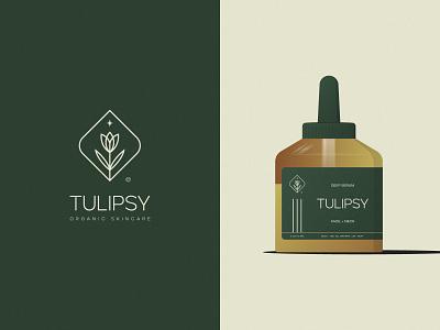 Tulipsy© maintenance beauty cosmetic tulip star bottle green serum deep skincare organic flower leaf print mark icon design brand logo branding