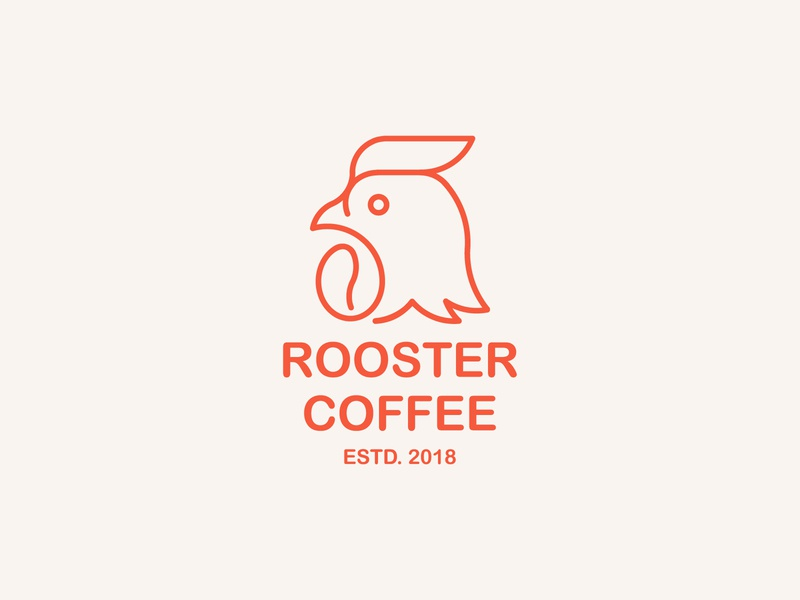Rooster Coffee print coffee bean coffee rooster logo rooster bird animal mark icon design brand logo branding