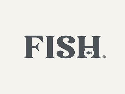 Fish Wordmark clever logo wordmark smart typography typeface negative space fish black animal mark icon design brand logo branding