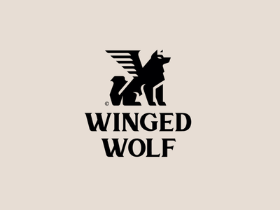 WINGED WOLF wing wings wolf black animal mark design brand logo branding