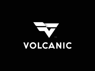 Volcanic Logo design (UNUSED) v v logo wings logo wing black icon mark design brand logo branding