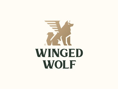Winged Wolf (Unused) a b c d e f g h i j k l m n 1 2 3 4 5 6 7 8 9 0 animal logo green gold luxury design luxury logo luxury wing logo wing wolf logo wolf illustration animal branding