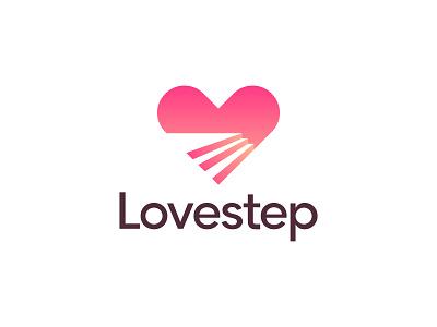 Lovestep 1 2 3 4 5 6 7 8 9 0 logo heart step love branding