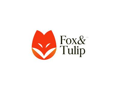 Fox&Tulip Logo Design fox tulip print a b c d e f g h i j k l m n leaf negative space animal mark logo branding