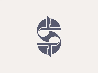 Whale & S Letter Logomark s letter whale branding