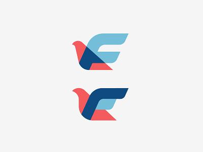 Flex Capital® - Top☝️ or 👇Bottom animal startup finance capital f letter bird brand mark logo branding