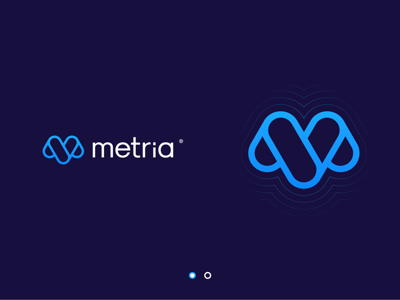 Metria blue logo m mark m logo tech logo branding icon brand logo