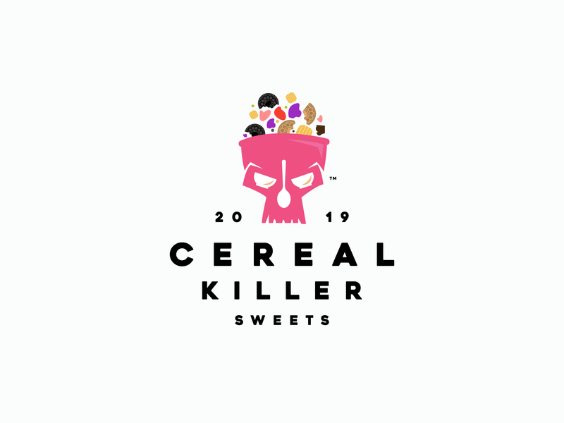CEREAL KILLER SWEETS negative space skull logo skull bowl bowl logo spoon spoon logo pink logo design mark icon branding brand logo