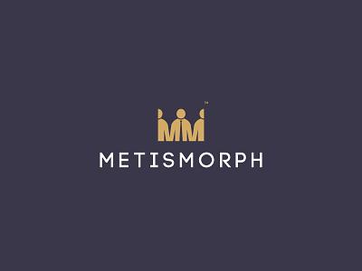 METISMORPH print design brand branding investors creative m logo leadership teamwork peoplelogo people person crown logo crown