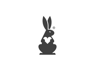 Rabbit and Heart animal bunny black heart rabbit print mark icon design brand logo branding