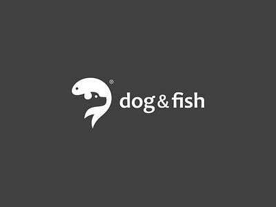 Dog&Fish animal black  white black fish dog print mark icon design branding logo