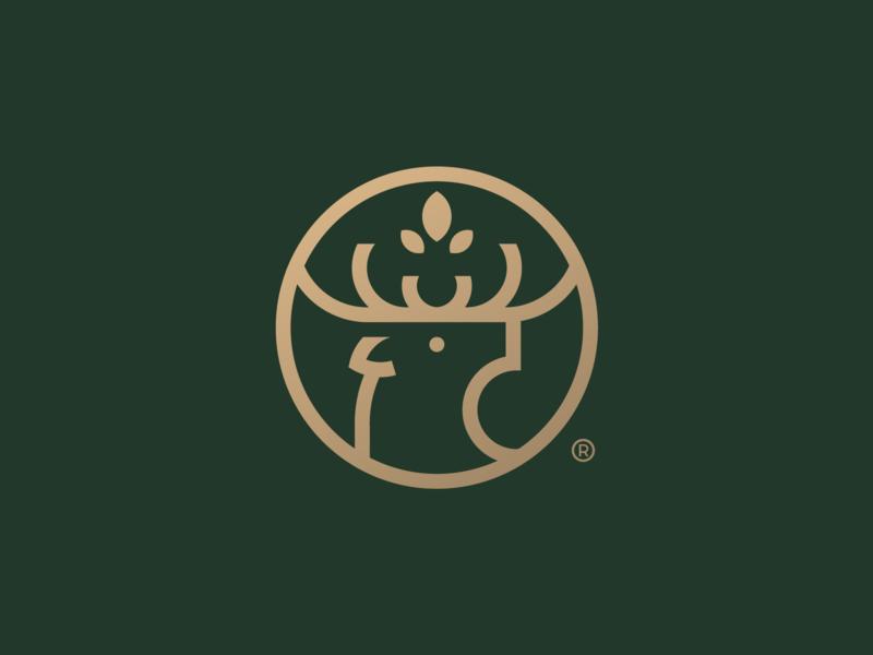 Unused Deer Concept leaf unused deer logo deer print mark icon design branding brand logo