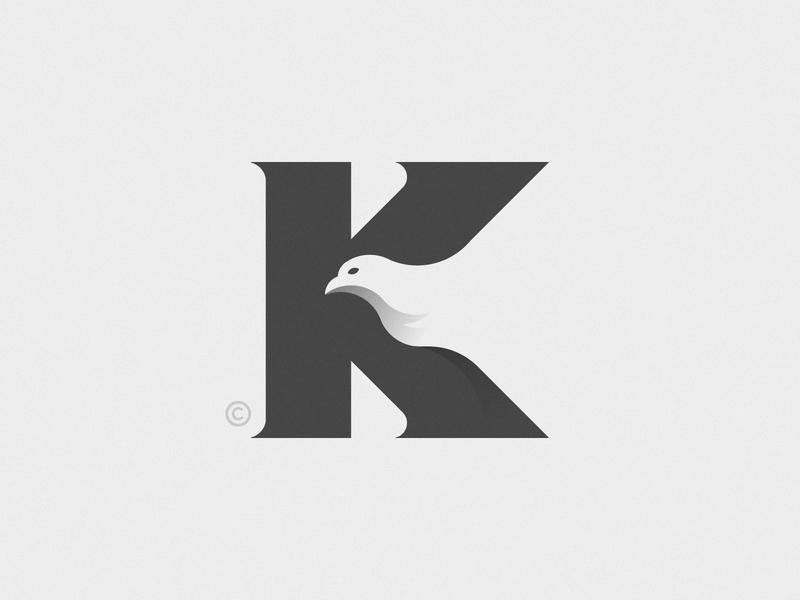 K+Bird negative space negativespace branding illustration blackandwhite black k k letter birds bird