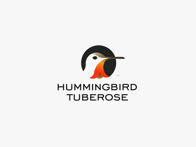 HUMMINGBIRD&TUBEROSE logo icon hummingbird orange flower logo flower bird logo bird print branding