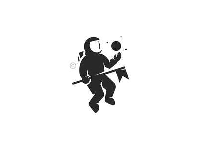 Explore stars spaceman space planet astronaut mark design icon brand branding logo