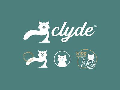 Clyde™ handwriting font favicon handmade green leaf cat brand branding logo