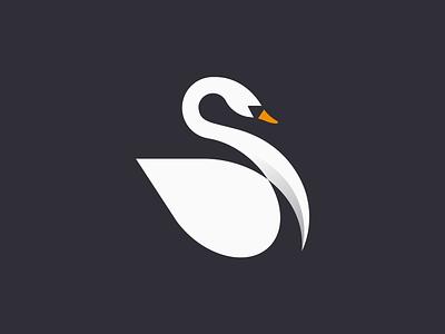 Swan illustration swan animal icon mark design logo branding
